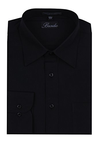 Dress Little Black Convertible (Basilio BAS-BLACK-195-36 - Men's Convertible Cuff Solid Dress Shirt)