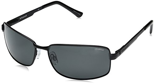 Polaroid Sunglasses P4416s Rectangular, Matte Black/Gray Polarized, 63 - By Sunglasses Polaroid
