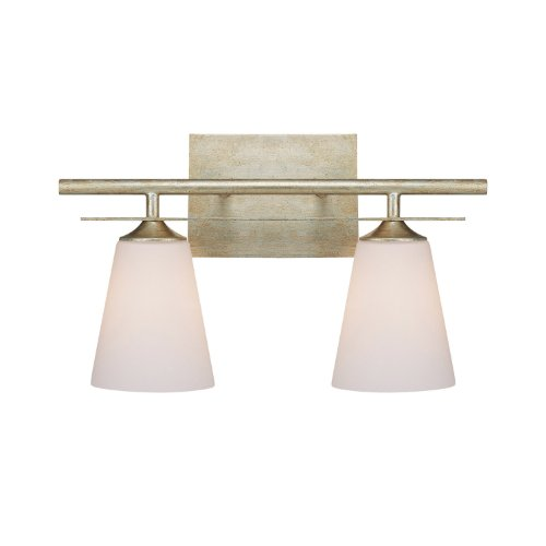 Capital Lighting 1737WG-122 Soho 2-Light Vanity Fixture, Winter Gold with Soft White Glass - Soho Bathroom Vanity Light