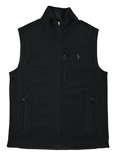 Ralph Lauren Polo Mens Pony Logo 3-Pocket Fleece Vest Jacket (Large, Black) - Chest Pocket Fleece Vest