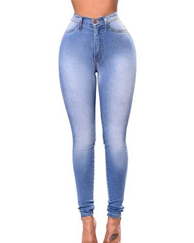 Delgados Los Del Alta Bastante Mujeres Botón Vaqueros Cintura Con Pantalones De Las Estiramiento Blau 0v8IpBq