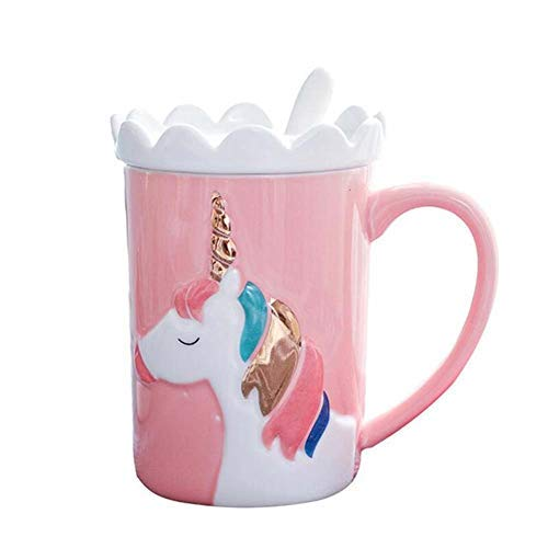 KELYNN Cute 3D Unicorn Mug Coffee Tea Cup with Spoon Ceramic Travel Mug with Lid and Handle for Woman - Unique Home Office 11.8oz Coffee Tea Mug(Pink)