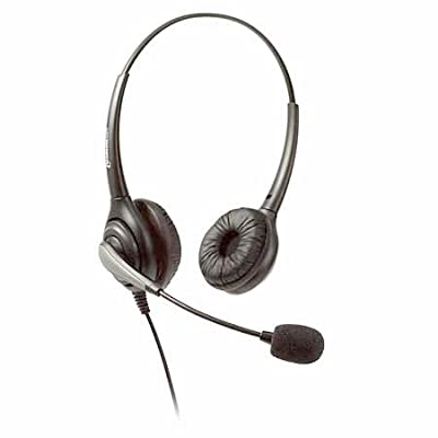 Dual-Ear Corded Office Call Center Headset with Noise-Canceling Microphone, 4-Pin RJ9 Quick Disconnect Connector Cord for most Analog and VOIP Desk Phones. Avaya, Nortel, ShorTel, Polycom, Cisco from Headsets.com