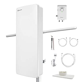 Image of ANTOP ANTENNA HDTV & FM Amplified Antenna AT-800SBS with Dual Outputs Smart Boost System 85 Miles, a Second TV or Any OTA-Ready Streaming Device or Projector TV Antennas
