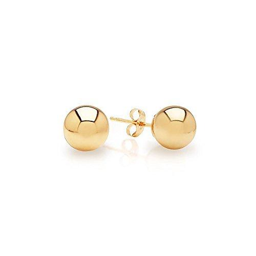 IcedTime 14k Yellow Gold Ball Stud Earrings pushback 3 4 5 6 7 8 10 12 IcedTime 14 MM (5 Millimeters) 14k Yellow Gold Stud Earrings