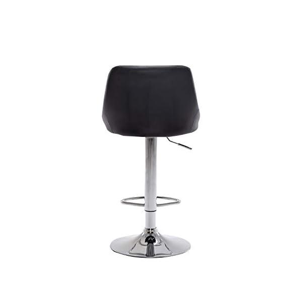 Muebles Home Lot de 2 tabourets de bar à hauteur réglable en cuir synthétique avec repose-pieds chromés pivotants pour…
