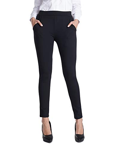 Balleay Art Women's Stretch Slim Ankle Fit Comfort Office Yoga Dress Pants w/Out Pocket & Tummy Control, Black S