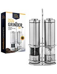 Salt and Pepper Grinder Set - Electric Shakers with Automatic Light Plus Ceramic Rotor and Stainless Steel Body - Adjustable from Coarse to Fine - One-Handed Operation - Stand Included