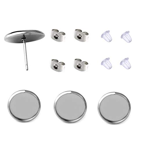 40 Pcs Stainless Steel Stud Earring Cabochon Setting Post Cup Fit for 12mm,80 Pcs Earring Backs (fit for ()