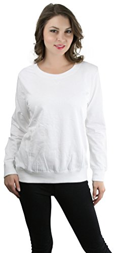 ToBeInStyle Women's Full Length L.S. Crew Neck Sweatshirt - White - Small (Plain White Sweatshirt)