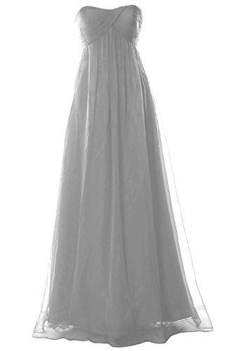 MACloth Women Strapless Empire Chiffon Long Bridesmaid Wedding Party Formal Gown Plateado