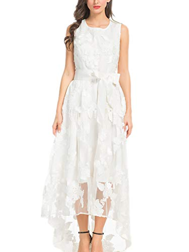 PERSUN Women's White Floral Print Gauze Panel Multi Layer Sleeveless Hi-lo Dress, White, US: Medium Asia: XL]()