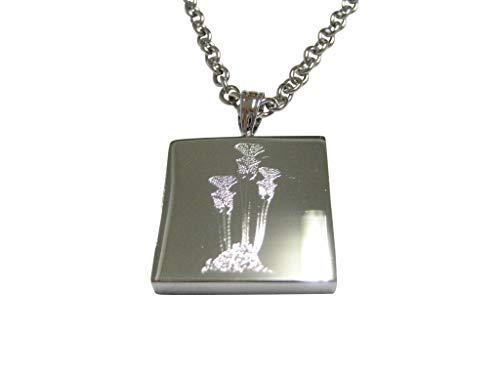 (Kiola Designs Silver Toned Etched Carnivorous Sarracenia Pitcher Plant Pendant Necklace)