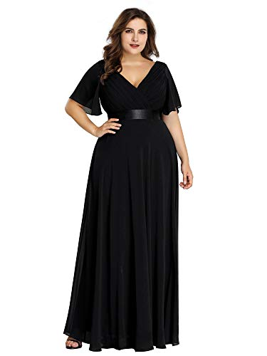 Ever-Pretty Women's Plus Size Ruffle Sleeves Formal Wedding Party Maxi Dress Black US14