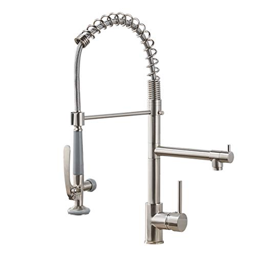 Fapully Commercial Pull Down Kitchen Sink Faucet with Sprayer Brushed -