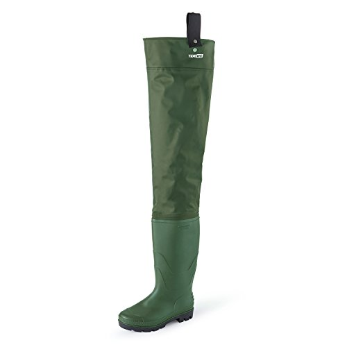TideWe Hip Wader, Lightweight Hip Boot For Men and Women,2-Ply PVC/Nylon Fishing Hunting Hip Wader Green Size 8