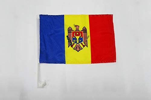 AZ FLAG Moldova Car Flag 18 x 12 Moldovan Car flags 30 x 45cm Banner 18x12 INCHES PLASTIC STICK