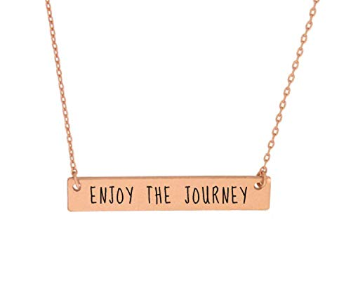 - OhBooBa Inspirational Quote Horizontal Engraved Bar Pendant Necklace (Enjoy Your Journey-Rose Gold)