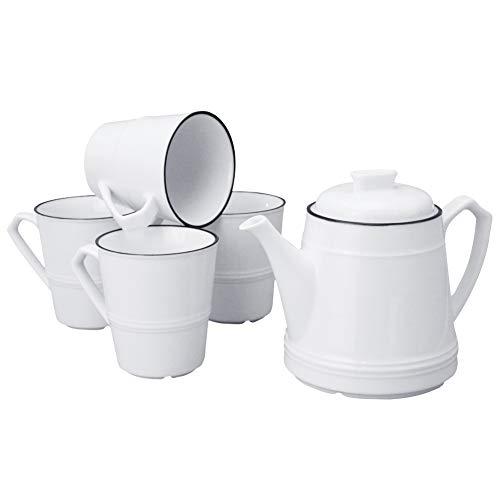 - Sunddo White Tea Set,Ceramic Teapot Coffee Cup Set Gift for Drinking Tea,Latte,Espresso,or Water including Tea Pot 28 OZ,4 Cups 10 OZ