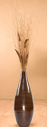 Green Floral Crafts 24 Inch Brown Teardrop Bamboo Floor Vase and Branches - Okra