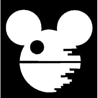 LLI Death Star Mickey | Decal Vinyl Sticker | Cars Trucks Vans Walls Laptop | White | 5.5 x 5.3 in | LLI1028: Automotive