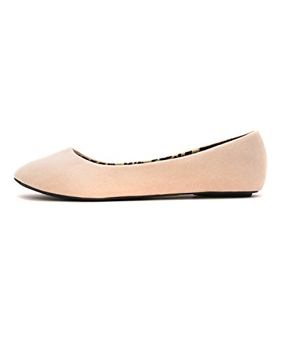 Charles Albert Donna Basic Chiuso Punta Rotonda Balletto Slip On Scarpa Blush In Pelle Scamosciata