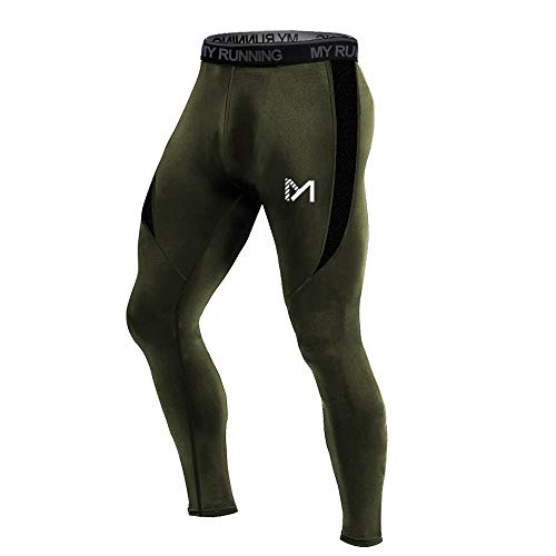 MEETYOO Men's Compression Pants, Cool Dry Long Base Layer Leggings, Sport Fitness Underwear Tights (Green, ()