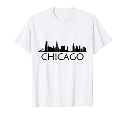 Chicago Skyline T-shirt Chi Town I Love Wind City Tee ()