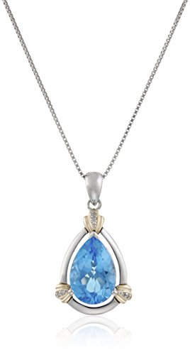 Sterling Silver and 14k Yellow Gold Swiss Blue Topaz and Diamond Accent Pendant Necklace (14k Yellow Gold Swiss)