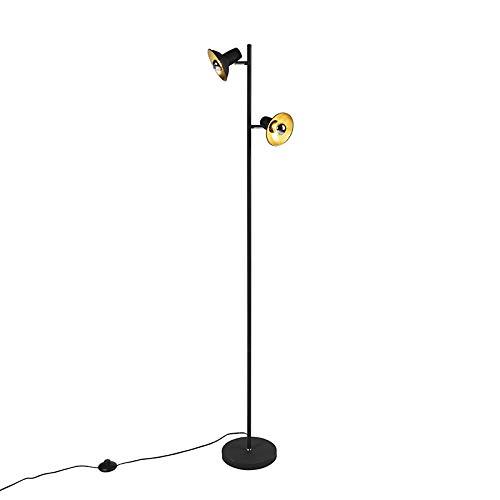 QAZQA Industrieel Design vloerlamp zwart met goud 2-lichts – Avril Staal Langwerpig/Organisch Geschikt voor LED Max. 2 x…