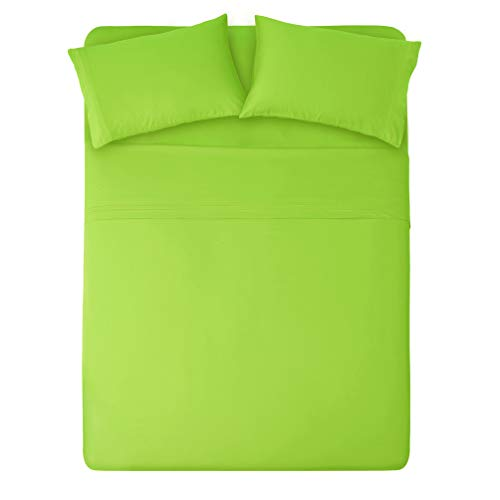 (HONEYMOON HOME FASHIONS Bedding Queen Sheet Set Triple Row Embroidery 4 Pieces Lime)