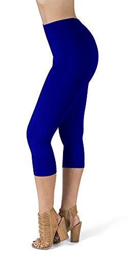 - SATINA High Waisted Super Soft Capri Leggings - 20 Colors - Reg & Plus Size (One Size, Royal Blue)