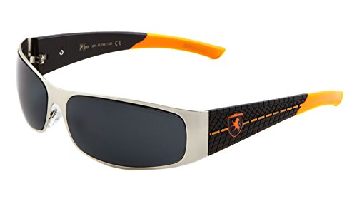 KHAN Metal Wrap Around Sunglasses Super Dark Lens Motocycling Biking Racing - Mens Sunglases