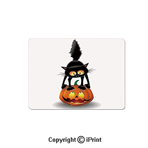 (Thick 3mm Gaming Mouse Pad Black Cat on Pumpkin Spooky Cartoon Characters Halloween Humor Art Personality Design Non Slip Rubber Mouse Mat,7.1x8.7 inch,Orange)