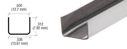 CRL 1/2 Stainless Steel U Channel