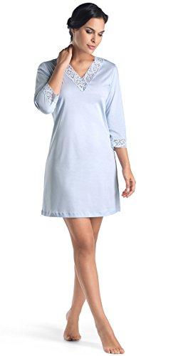 Hanro Women's Moments 3/4 Sleeve Bigshirt, Blue Glow, Small