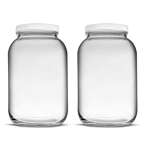 Teikis 2 Pack (1 Gallon) Glass Jar - 4 Inch Wide-Mouth Opening Lid Air Tight Leak Proof - USDA Approved for Fermenting Kombucha, Kefir, Storing and Canning