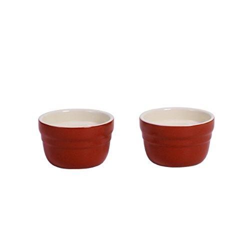 Baker's Advantage Ceramic Ramekins, Set of 2, Red - Red Creme Brulee Dish
