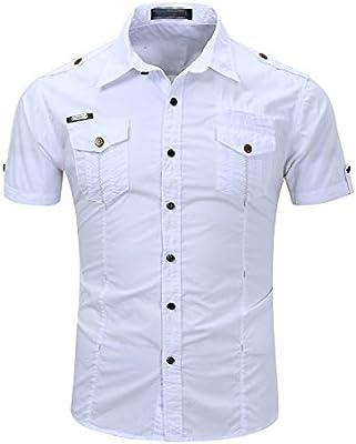 Wanlianer-Clothing Camisa de Vestir Casual de los Hombres Camisa Casual de Hombre Slim Fit Camisa de Manga Corta al Aire Libre Camisas de Trabajo Vestido Tops (Color : Blanco, tamaño : Metro):