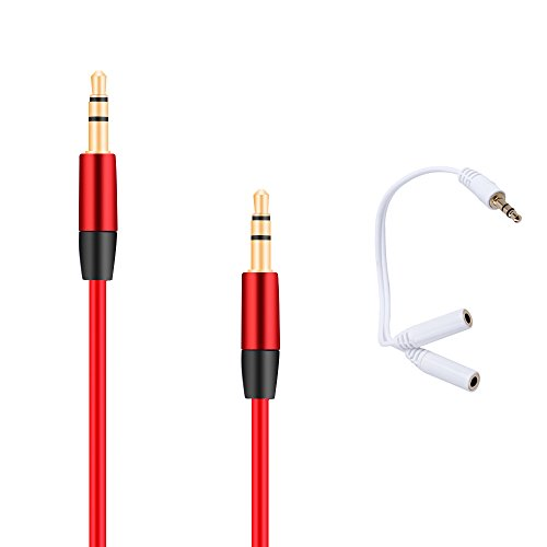 UPC 889250038632, Asamoom 3.5mm Aux Cable Male to Male (Red) + 3.5mm Audio Stereo Y Splitter Cable Male to 2 Port Female (White)