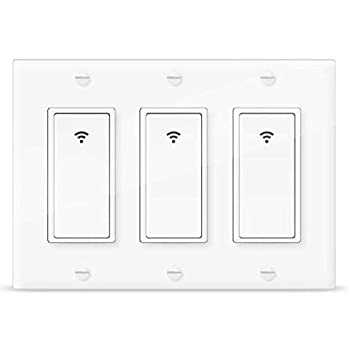 Smart Light Switch,Vaticas 100-240V Smart WIFI Light Switch,Works With Alexa,Google Home and IFTTT, With Remote Control and Timer,No Hub required Applicable to Family and Office(3 Gang White)