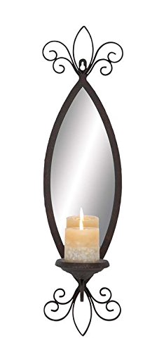 Deco 79 93739 Metal & Mirror Candle Sconce - Accent Wall Sconce