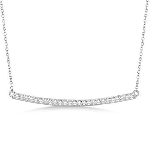 Ladies Dazzling Pave Set Horizontal Champagne Diamond Bar Necklace In Polished 14k White Gold (0.25 Ct Dazzling Diamond)