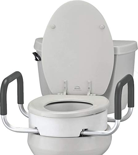 NOVA Toilet Seat Riser with Handles, Raised Toilet Seat (For Under Seat) with Padded Arms, For Standard Toilet Seat