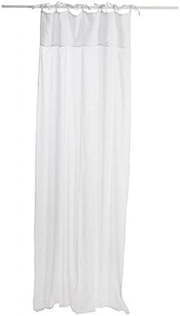 Cortina Visillo lino + algodón blanco 140 x 290 cm: Amazon.es: Hogar