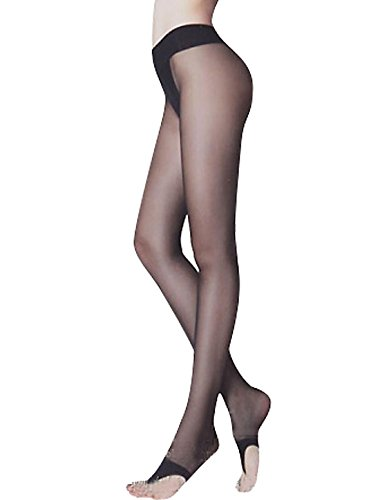 (uxcell Ladies Reinforced Crotch Thong-style Stirrup Pantyhose Black 4)