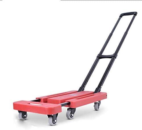 トロリー荷物カート、小型カート引っ張り車フォールドポータブルトロリー家庭用小型トロリーミニトレーラー (色 : Red, サイズ さいず : B)
