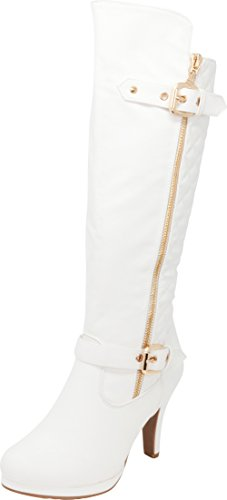 Boots White Platform Knee High (Cambridge Select Women's Closed Toe Quilted Buckle Strap Riding Platform High Heel Knee-High Boot,8.5 M US,White Pu)