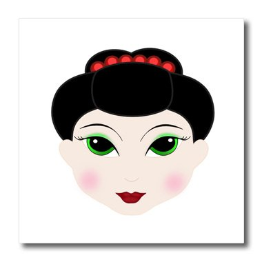 3dRose Florene Décor II - Cute Digital Drawing Of Geisha Face - 6x6 Iron on Heat Transfer for White Material ()
