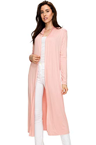 Pink Kimono Lady - EttelLut Maxi Long Open Front Lightweight Cardigan Sweaters Regular Plus Size Dusty Rose L